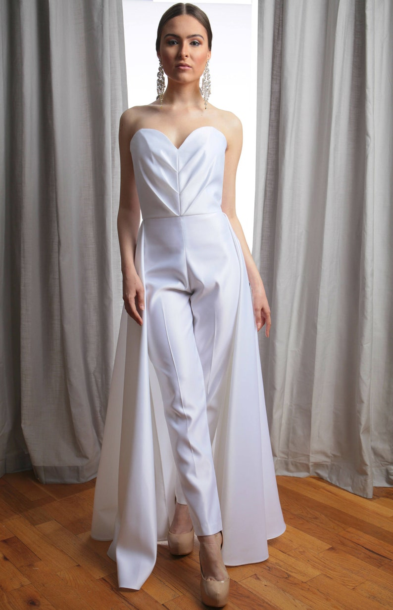 Vivian Pleated Sweetheart Strapless Bridal Jumpsuit | Stay at Home Mum