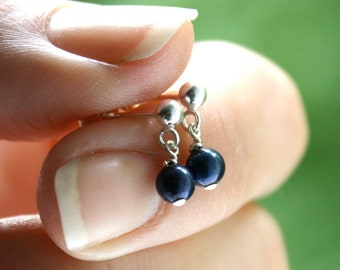 Blue Pearl Earrings Dangle . Dropped Small Pearl Earrings Blue . Navy Blue Earrings . Pearl Stud Dangle Earrings