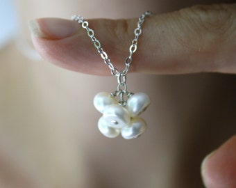White Freshwater Pearl Cluster Necklace