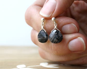 Tourmalinated Quartz Stud Earrings for Grounding and Stability