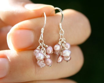 Pink Freshwater Pearl Earrings . Pink Pearl Dangling Earrings . Pink Bridesmaid Gift Jewelry . Pink Bridesmaid Jewelry