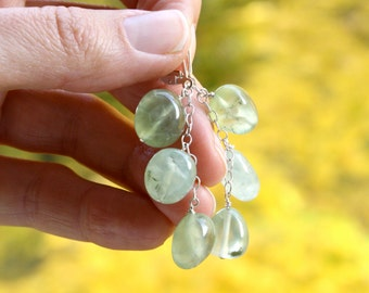 Prehnite Earrings on Sterling Silver Lever Backs