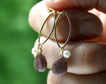 Aventurine and Freshwater Pearl Earrings in 14k Gold Fill