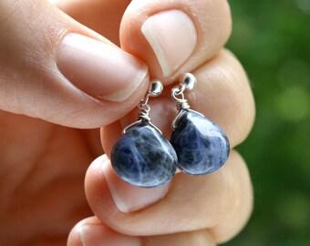 Dark Blue Earrings Stud Dangle . Small Teardrop Earrings . Blue Gemstone Earrings . Sodalite Earrings . Dark Blue Drop Earrings