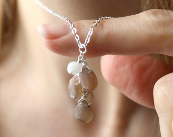 Mixed Moonstone Pendant Necklace