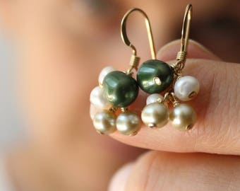 Pearl Earrings Dangle Gold . Gold and Green Pearl Earrings Wedding Jewelry . Mother of the Bride Jewelry