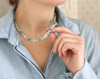 Amazonite, Blue Aventurine and Moonstone Necklace for Inner Strength and Prosperity NEW