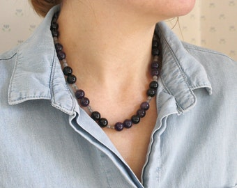Amethyst, Onyx, and Labradorite Necklace for Protection and Banishing Fear