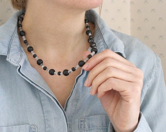 Black Onyx Bead Necklace for Protection and Grounding NEW