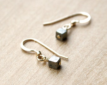 Pyrite Cube Earrings in 14k Gold Fill for Protection and Inner Strength