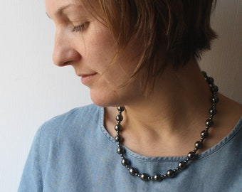 Jewelry for Anxiety . Hematite Beaded Necklace