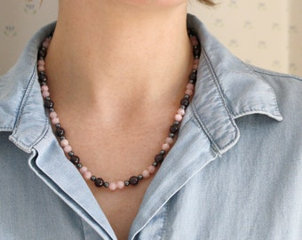 Natural Garnet, Pink Opal, and Hematite Necklace for Courage and Relief of Stress