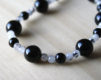 Black Onyx and Tourmalinated Quartz Necklace for Protection and Grounding
