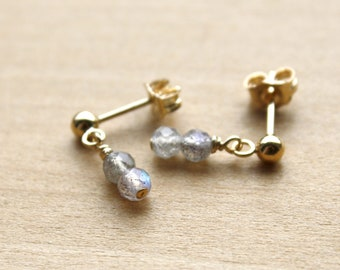 Labradorite Earrings in 14k Gold Fill for Calming the Mind and Illuminating Higher Purpose