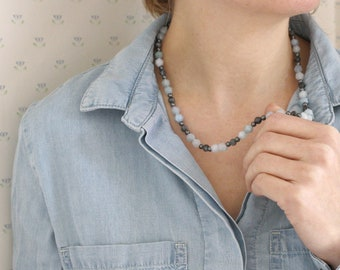 Aquamarine, Hematite, and Black Moonstone Necklace for Courage and Anxiety Relief NEW
