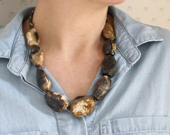 Natural Petrified Wood Necklace for Security and Self-Will