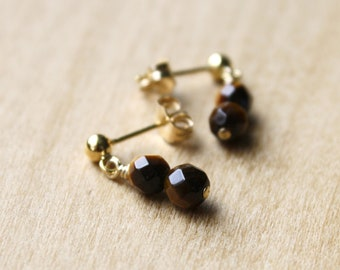 Tiger Eye Studs in 14k Gold Fill for Clarity of Intention and Overcoming Obstacles