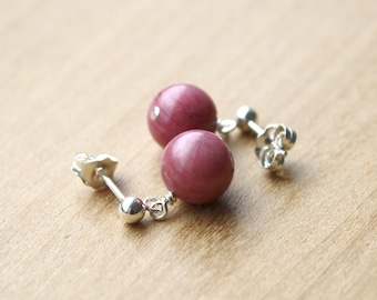 Rhodonite Studs for Emotional Tranquility and Ease
