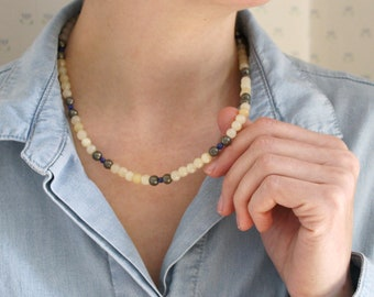 Calcite, Pyrite, and Lapis Lazuli Necklace for Anxiety Relief and Stability