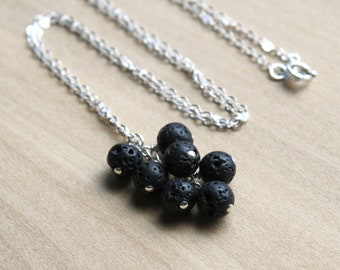 Lava Stone Necklace in Sterling Silver for Easing Anger and Anxieties