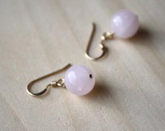 Rose Quartz Earrings in 14k Gold Fill for Unconditional Love
