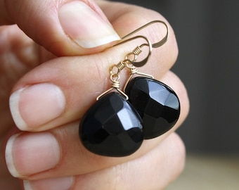 Black Onyx Dangling Earrings in 14k Gold Fill for Strengthening Resolve and Finding Courage