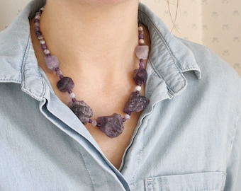 Raw Amethyst Necklace for Protection and Motivation NEW