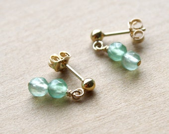 Green Aventurine Earrings Studs for Stability and Protection of the Heart