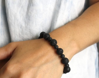 Lava Stone Bracelet for Grounding and Essential Oil Diffusion