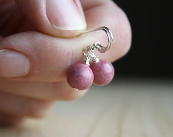 Rhodonite Earrings for Emotional Balance and Self Love