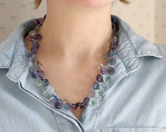 Rainbow Fluorite Necklace for Confidence and Concentration