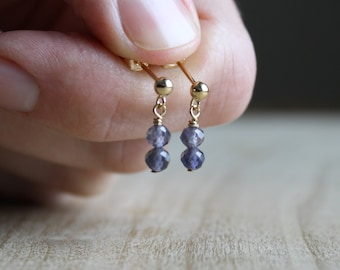 Natural Iolite Earrings for Intuition and Illumination