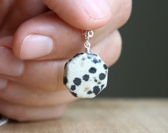 Dalmatian Jasper Necklace for Women . Polished Stone Pendant Necklace . Natural Stone Necklace Positive Energy NEW