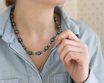 Natural Hematite Necklace for Anxiety Relief and Fearlessness