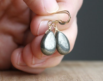 Pyrite Drop Earrings in 14k Gold Fill for Shielding Negativity and Attracting Prosperity