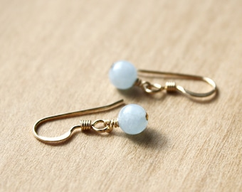 Natural Aquamarine Earrings for Courage and Calm