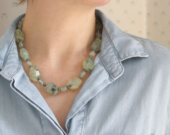 Natural Prehnite and Hematite Necklace for Peace and Anxiety Relief NEW