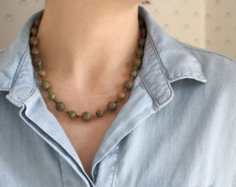 Unakite Necklace for Balance and Resilience