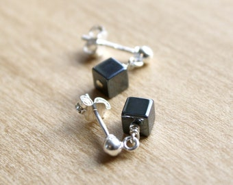 Hematite Studs in Sterling Silver for Harmony and Willpower
