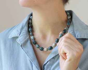 Blue Apatite and Labradorite Necklace for Willpower and Motivation NEW