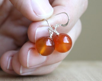 Natural Carnelian Earrings for Courage and Willpower NEW