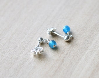 Natural Apatite Studs in Sterling Silver for Motivation