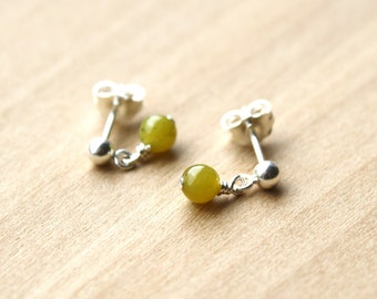 Natural Jade Stud Earrings for Harmony and Good Luck
