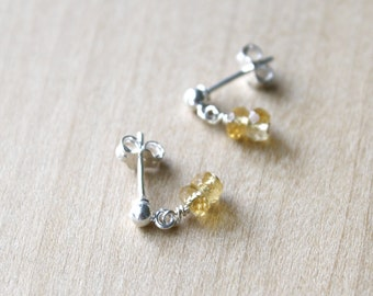 Citrine Studs in Sterling Silver for Energy and Comfort