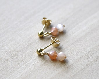 Peach Moonstone Studs for New Beginnings