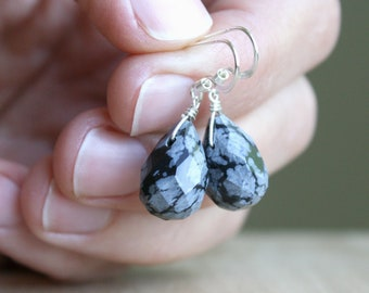 Snowflake Obsidian Earrings for Self Worth and Confidence
