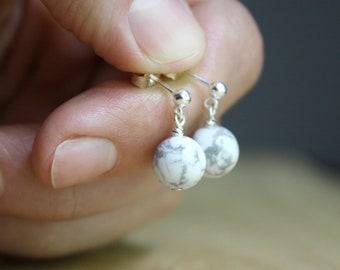 White Howlite Studs in Sterling Silver for Calm and Creativity