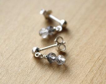 Tourmalinated Quartz Stud Earrings for Positive Energy