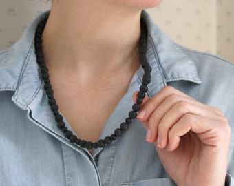 Aromatherapy Necklace with Lava Stone and Black Onyx