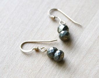 Pyrite Drop Earrings in 14k Gold Fill for Protection